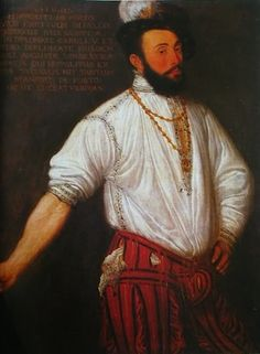 Francesco Maria della Rovere (1490-1538) was the nephew of pope Julius II and became duke of Urbino in 1508. The breeches are very similar to those worn by knight and govenor Ippolito da Porto in a portrait from ca. 1573. The vertical cording of the doublet, on the other hand, reminds of the one worn by Ranuccio Farnese in the 1542 portrait Tiziano made of him.