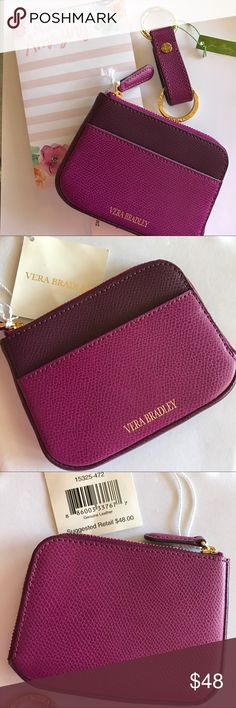 """🆕Vera Bradley NWT Leather Zip Card Case in Plum Lightweight full-grain leather. Zip around compartment for easy access to credit and debit cards. New, with tags, never used.   Features: 👛Leather with gold tone hardware  👛Exterior slip pocket 👛Interior features six credit card slip pockets 👛L-shaped zip closure for easy access  Dimensions approx 5 w x 3 ½""""h x ½""""d  This listing for zip card case only. Matching keychain offered in my closet. Coordinates with many other bags listed in my…"""