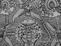 203. Classical batik motif fauna in their environments:Telekun Angrem. Telekun = a variety of a fowl. Angrem = to hatch an egg.