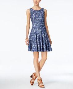 TOMMY HILFIGER Tommy Hilfiger Denim Lace Fit & Flare Dress. #tommyhilfiger #cloth # dresses