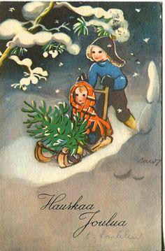Martta Wendelin Christmas Images, Christmas Greetings, Christmas And New Year, Kids Christmas, Vintage Christmas Cards, Xmas Cards, Wedding Guest List, Luge, Childrens Christmas