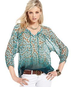 Lucky Brand Jeans Top, Three-Quarter V-Neck Printed Chiffon - Tops - Women - Macy's