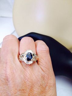 2 carats of diamond and blue sapphire