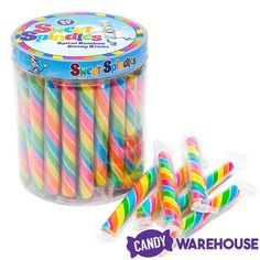 Sweet Spindles Mini Hard Candy Sticks - Rainbow: Jar by Sweet Spindles Bulk Candy, Hard Candy, Candy Store, Recipe For Teens, Rainbow Candy, Salty Cake, Baby Sprinkle, Savoury Cake, Unicorn Party
