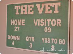Vintage Football Scoreboard Sign