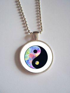Pastel Yin Yang Necklace // Pastel Grunge Dome by kreepshowkouture, $12.99