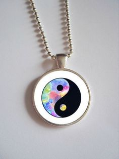 Pastel Yin Yang Necklace // Pastel Grunge Dome by kreepshowkouture, $12.99