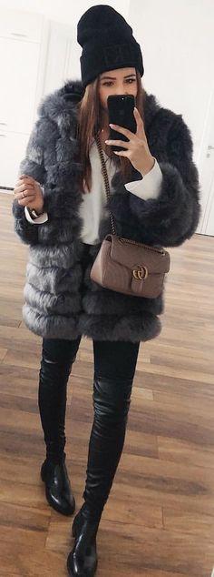 #winter #outfits black mink coat
