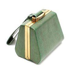 FASHION JEWELLERY - Groene slangeleren Art Deco avondtas ontwerper onbekend uitvoering ca.1930