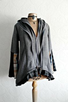 Broken Ghost Clothing — Women's Slouchy Gray Hoodie Upcycled Clothing Wearable Art Top Hooded Jacket Boho Eco Fashion M/L