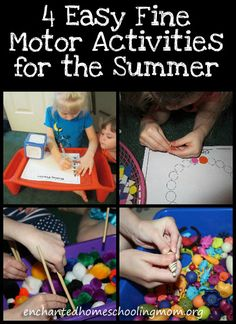 4 Easy Fine Motor Activities for the Summer: Tracing shapes with stickers, using chopsticks to sort pom pons by color