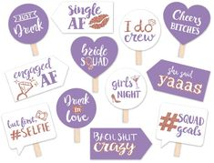 Funny Bride Squad Bridal Shower or Bachelorette Party Printable Photo Booth Props - Lavender and Rose Gold - 12 Hand Painted Signs by brighterprints on Etsy Bridal Shower Tables, Bridal Shower Photos, Bridal Shower Centerpieces, Bridal Shower Rustic, Bridal Shower Favors, Diy Photo Booth, Photo Booths, Bridal Bouquet Fall, Bridal Bouquets