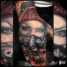 Chicano hand tattoo handtattoo of gangster girl wearing bandana ink by Jim DW