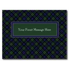 """""""Save the Date with Blackwatch Plaid"""": Whether it's a house party or special event such as a class or family reunion, organization's gala, dance, or any other occasion, you can personalize this card to suit it completely. Blackwatch plaid is a classic design that's been a favorite for a very long time, and it will immediately grab the eye of all recipients, meaning attendance will be excellent!"""