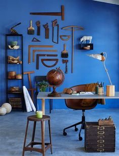 Dreamy blue feature wall hung with vintage tools. Blue Feature Wall, Room Makeovers, Vintage Tools, Alphabet Letters, Pallet Ideas, Room Paint, 4 Life, Room Inspiration, Decorative Bowls