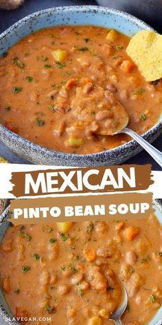 Mexican Food Recipes, Whole Food Recipes, Vegetarian Recipes, Dinner Recipes, Cooking Recipes, Healthy Recipes, Vegetarian Soup, Pinto Bean Soup, Comida Latina
