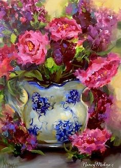 """Dreams to Come Pink Peonies and a Day in the Life by Floral Artist Nancy Medina"" - Original Fine Art for Sale - © Nancy Medina"