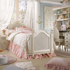 Beautiful girl's room with a soothing vintage feel