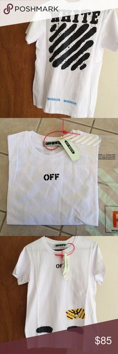 Men's Off-White UA Large Mirror Mirror T Shirt Brand NWT Size Large, UA Off-white mirror mirror T Shirt with official product bag. Price firm! Off-White Shirts Tees - Short Sleeve