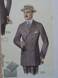 Catalogue of Men's Suits from 1916 (Mutual Tailoring of Chicago) Suit Fashion, Look Fashion, Mens Fashion, 1918 Fashion, 1940s Mens Suits, Fashion Illustration Vintage, Fashion Illustrations, Classic Outfits, Vintage Outfits