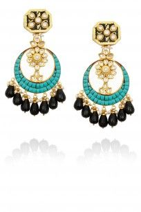 Gold finish turquoise and black stone chandbali earrings