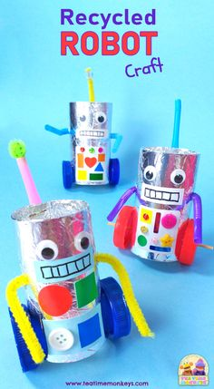 Little ones will love making this cute recycled robot craft. You can make a simple one with wheels that don't turn, or the super fun version with moving wheels! Recycled Robot, Recycled Crafts Kids, Diy Crafts For Kids, Easy Crafts, Recycle Crafts, Craft Activities For Kids, Preschool Crafts, Robot Crafts, Diy Robot