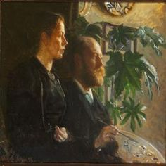 Viggo Johansen - Self-portrait with palette in hand and his wife Martha at his side 1898 Lund, Drawing Artist, Painting & Drawing, Nordic Lights, Realistic Paintings, Couple Art, Skagen, Oil On Canvas, Art Gallery