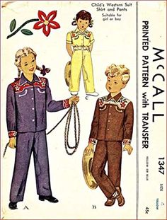 McCall's 1347 Child's Girl's and Boys Western Suit - Shirt and Pants Vintage Sewing Pattern Embroidery Transfer Included Western Suits, Kids Girls, Boys, Suit Shirts, Embroidery Transfers, Costume Patterns, Amazon Art, Sewing Stores, Vintage Sewing Patterns