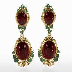 Turmaline and dark granath earrings