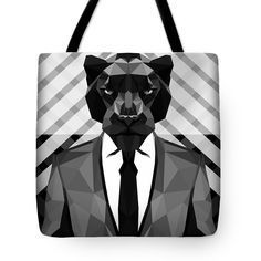 Black Panther Tote Bag Chevron Print Bag Beach Bags Gray Shopping Totes Panther Bag $23.50 by Filip Aleksandrov