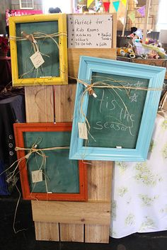 Old frames or new custom ones (made from leftover trim) and chalkboard paint...super cute and the possibilities are endless!