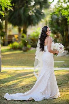 Blush wedding gown  at destination beach rustic wedding at villa montana puerto rico
