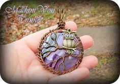 Purple Agate Super Moon Owl Pendant by MadamVonTrinkets on Etsy