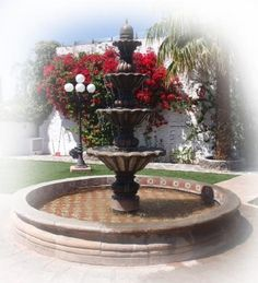 This extraordinary architectural stone fountain, handmade with round basin and free standing. In colonial state of Michoacan between town of Quiroga and Patzcuaro we produce hand carved stone fountains. Stone Fountains, Garden Fountains, Yard Stones, Front Yard Patio, Porch, Colonial Garden, Pond Waterfall, Garden Urns, Water Features In The Garden