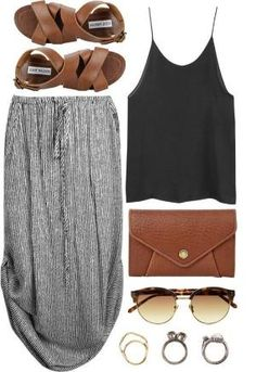 feeling boho? then this maxi skirt with a simple black strap top paired with simple jewelry, leopard print glasses is the perfect summer outfit be sure to add matching sandals and bag to make you look even more