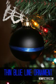 Thin Blue Line Christmas Ornament for Law Enforcement Officers
