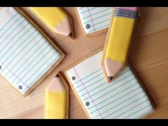 Back To School! How To Decorate Pencil and Paper Cookies - YouTube Would be fun to make as a surprise for kids on the first day of school. :)