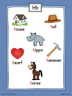 Letter H Word List with Illustrations Printable Poster (Color) Worksheet.Use the Letter H Word List with Illustrations Printable Poster to play letter sound activities or display on a classroom wall. Phonics Flashcards, Phonics Sounds, Alphabet Phonics, Teaching The Alphabet, Teaching Phonics, Learning Letters, Preschool Phonics, Learning Websites For Kids, Learning English For Kids
