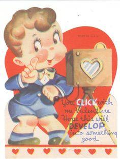 Vintage Valentine Card Photographer Boy Die Cut Camera Photography Unused | eBay
