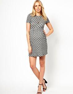 ASOS Maternity Skater Dress in Flocked Spot. Love the dress...but hate the price.
