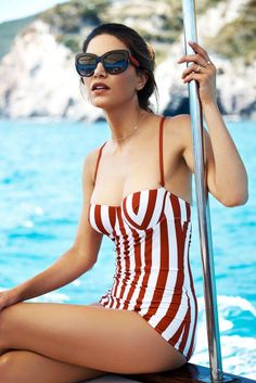 Negin Mirsalehi in a retro bathing suit look by Dolce & Gabbana.
