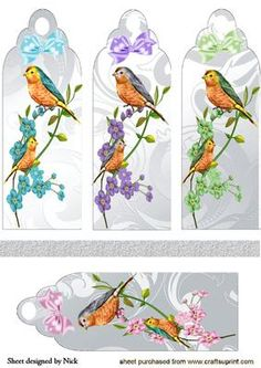 LITTLE BIRDS WITH FLOWERS AND BOWS BOOKMARKS on Craftsuprint designed by Nick Bowley - LITTLE BIRDS WITH FLOWERS AND BOWS BOOKMARKS, Makes four pretty cards lots of others to see also in toppers - Now available for download!