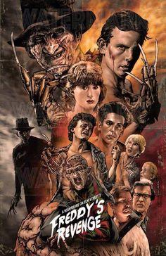 Nightmare on elm Street 2 Freddy's Revenge horror movie poster Horror Icons, Horror Movie Posters, Movie Poster Art, Horror Art, Freddy Krueger, Robert Englund, Horror Movie Characters, Slasher Movies, Horror Villains