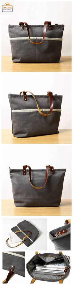 Handcrafted Grey Canvas Tote Bag Shopper Bag Diaper Bag Shoulder Bag Handbag 14022