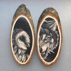 Artist Uses Wood Slices as Organic Canvas for Nature-Themed Portraits | My Modern Met