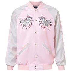 TOPMAN Jaded Pink and Silver Crane Print Bomber Jacket ($86) ❤ liked on Polyvore featuring men's fashion, men's clothing, men's outerwear, men's jackets, pink, mens pink jacket, mens bomber jacket and mens leopard print jacket