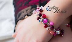 Ensemble agate rose - Agate rose - Cristaux de Swaroski - Ensemble collier bracelet boucles d'oreilles avec photo - Photo de Clématite