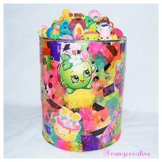 homemade Shopkins storage tin. @shopkinsworld  #shopkins #art #craft #kid #activity #recycle #paper #fun #glue #decorate #tin #box #storage #cute #learning #lesson #toys