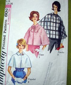 1960s Vintage Sewing Pattern  Cape  Caplet  Poncho by SelvedgeShop, $9,00