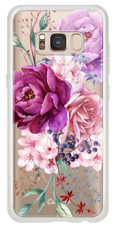 Casetify Galaxy Classic Snap Case - Purple Peony Watercolor Floral Bouquet by Ruby Ridge Studios